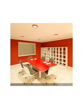Plafón de Techo de LEDs Circular de Superficie Ø215mm 18W 1450Lm 30.000H Color Rojo