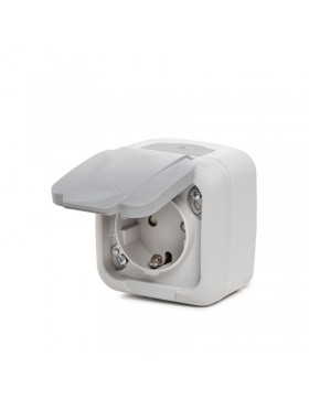 Toma de Corriente - Tierra Lateral - 16A 250V- Protección Infantil- Tapa - IP54 Gris